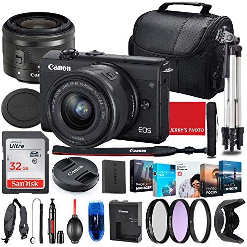 Canon EOS M200 Mirrorless Camera with 15-45mm STM Lens (Black) Bundle + Premium Accessory Bundle Including 32GB Memory, Filters, Photo/Video Software Package, Shoulder Bag & More