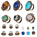 SUNNYCLUE 6Pcs 6 Styles Antique Bronze Adjustable Blank Flower Cabochon Ring Settings with...
