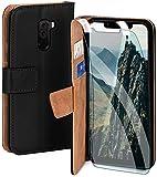moex Handyhülle für Xiaomi Pocophone F1 - Hülle mit Kartenfach, Geldfach & Ständer, Klapphülle, PU Leder Book Hülle & Schutzfolie - Schwarz
