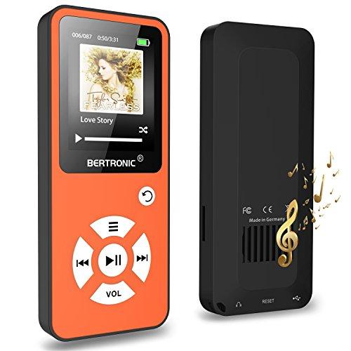 BERTRONIC MP3-Player 16 GB Royal BC01-100 Stunden Wiedergabe, Lautsprecher, Kopfhörer, Schrittzähler, Hörbücher, FM Radio, Wecker, mit microSD Kartenslot für bis 128 GB microSD Karten - Orange