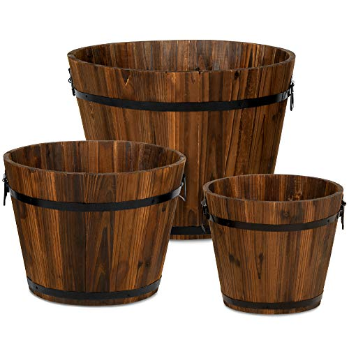 Best Choice Products Set of 3 Wooden Bucket Barrel Garden Planters Set Rustic Decorative Flower Beds for Plants, Herbs, Veggies w/Drainage Holes, Multiple Sizes, Indoor Outdoor Use