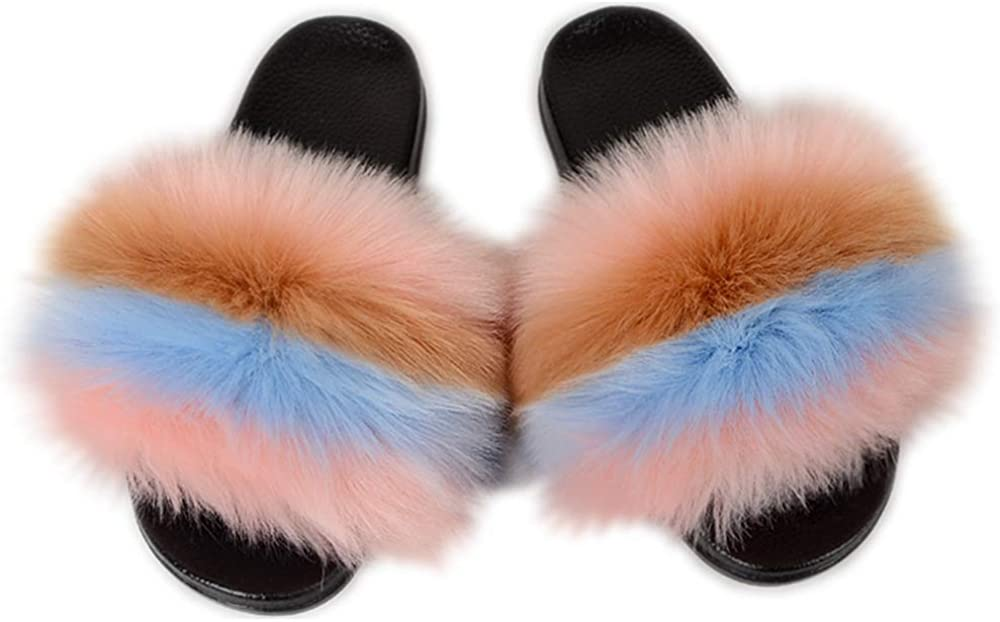 Luxury Fur Slippers Slides for Women Open Toe outdoor Furry Slides Girls Fluffy Summer Sandals Multicolor