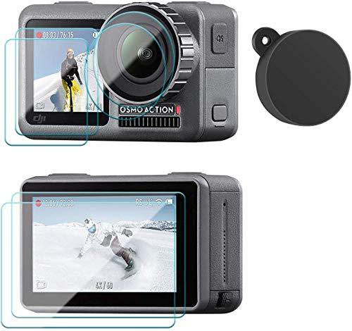 micros2u Pack de 7 elementos Anti arañazos, Protectores de Pantalla de Vidrio Templado Ultra nítidos + Protectores de Objetivo + Tapa de Objetivo de Silicona para la cámara DJI OSMO Action