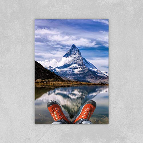 Nature Landscape Canvas Wall Art For Home Decoration Matterhorn Peak With Hiking Boots In Alps Modern Nature Artwork For Home Office Bedroom Living Room Wall Decor 12x16 Inch
