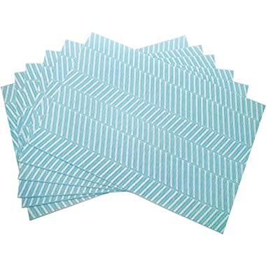 Tennove Placemats, Crossweave Woven Vinyl PVC Placemat Washable Table Mats for Kitchen Dinning Table,Set of 6(Blue Strip)
