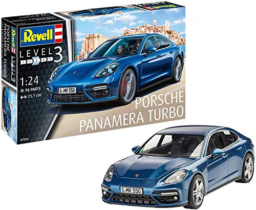 Revell Maqueta Porsche Panamera Turbo, Kit Modelo, Escala 1:24 (07034), Color Azul, 21,1 cm de Largo