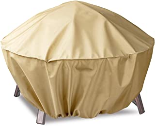 Hentex Fire Pit Cover Round 40-Inch, Heavy Duty Patio Waterproof Windproof Outdoor Table Cover,40