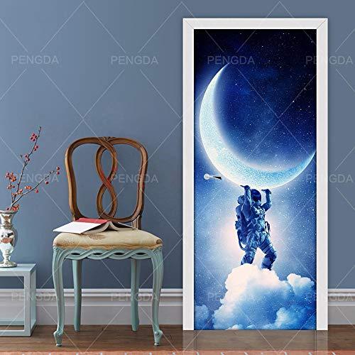 DIOPN deur sticker foto 3D Home Decor Astronaut Maan Planet Art Decals zelf waterdicht wandafbeelding slaapkamer renovatie (77 * 200cm)