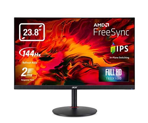 Acer XV240YP Gaming Monitor 23,8 Zoll (60 cm Bildschirm) Full HD, 165Hz OC, 144Hz, Fast LC 2ms (G2G), 2xHDMI 2.0, DP 1.2, höhenverstellbar, drehbar, HDMI/DP FreeSync Premium