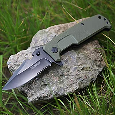 Hurricane Pocket knife with belt clip and bottle opener, Ball Bearing Pivot System, Glass broker, One Hand Operation Flip Open, G10 handle and 8Cr15MoV Stainless Steel Blade, Liner Lock, Olive Green