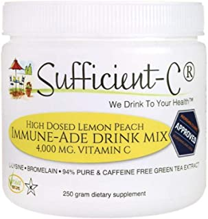 Sufficient-C High Dose Non-GMO Vitamin C - Lemon Peach Immune-Ade Drink Mix 250 Grams