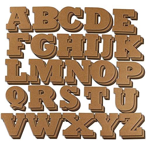Juvale Lettres Majuscule en Carton - 104 Lettres de l'Alphabet pour Les Enfants, la Déco, Le Scrapbooking, Les Projets de Bricolage - Marron - 11,4 x 7,6 cm