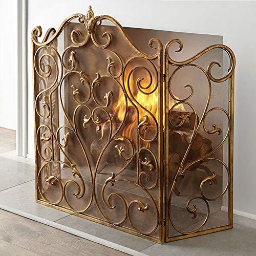 Funkenschutzgitter 3-Panel Gold Schmiedeeisen Kamin Bildschirm - Outdoor Metalldekor Mesh Funkenschutz Abdeckung Solide Sicherheitsbeweis Kamin Zaun, Hoch 36 Zoll (Color : Gold)