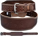 RDX Weight Lifting Belt Cow Hide Leather Gym 4' Training Back Support Fitness Exercise Bodybuilding, L 32'-36' (Waist Size not Pant Size), Brown