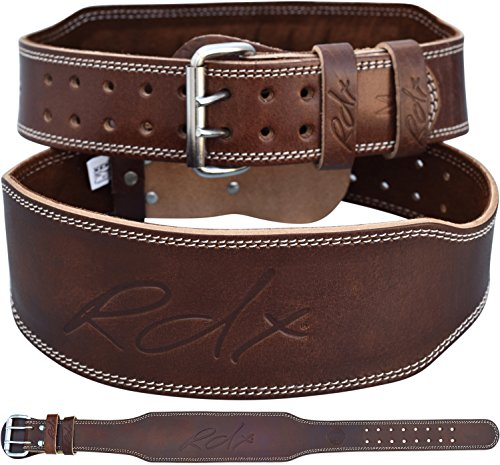 "RDX Weight Lifting Belt Cow Hide Leather Gym 4"" Training Back Support Fitness Exercise Bodybuilding, L 32""-36"" (Waist Size not Pant Size), Brown"