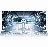 マウスパッド カートゥーンスペースファニー高性能な滑らかな表面を備えたマウスパッド耐久性のあるステッチエッジ特殊な質感のラバーベース300X800X3Mm耐摩耗性の厚いゲーミングマウスパッドオフィスゲーマー-(D)