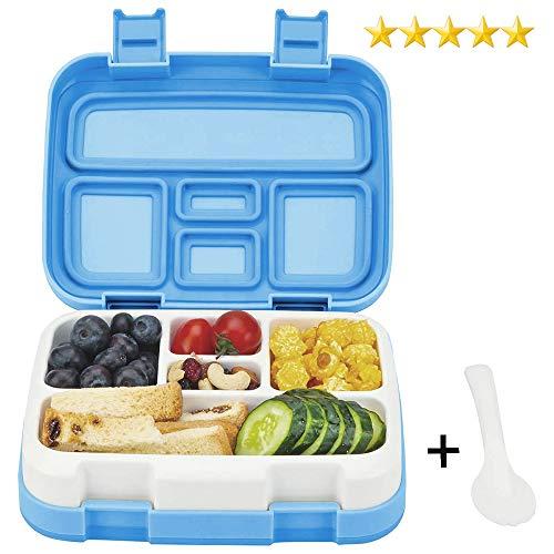Bento Box lunchbox ♻ Essen Box Schule Box für kinder mit Multifunktionslöffel BPA 100% frei Vesperdose Brotdose Spülmaschinengeeignet und Mikrowellengeeignet Blau