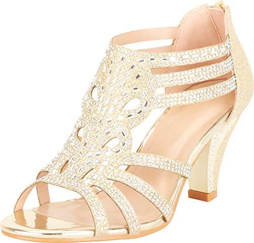 Cambridge Select Women's Open Toe Strappy Cutout Crystal Rhinestone Mid Heel Sandal,8 B(M) US,Champagne Glitter