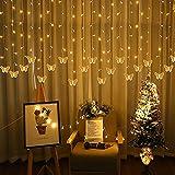 Luces de cadena de mariposa impermeable al aire libre, luces de cadena de hielo de decoración de Navidad, 216 LEDs Fondo de boda de fiesta luces de hadas (Color : Warm white)
