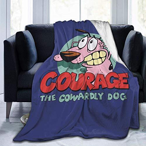 Courage The Cowardly - Manta de forro polar para perro, hecha de franela de felpa, manta para el hogar, cama, sofá, resistente a las arrugas, manta suave de 60 x 50 pulgadas