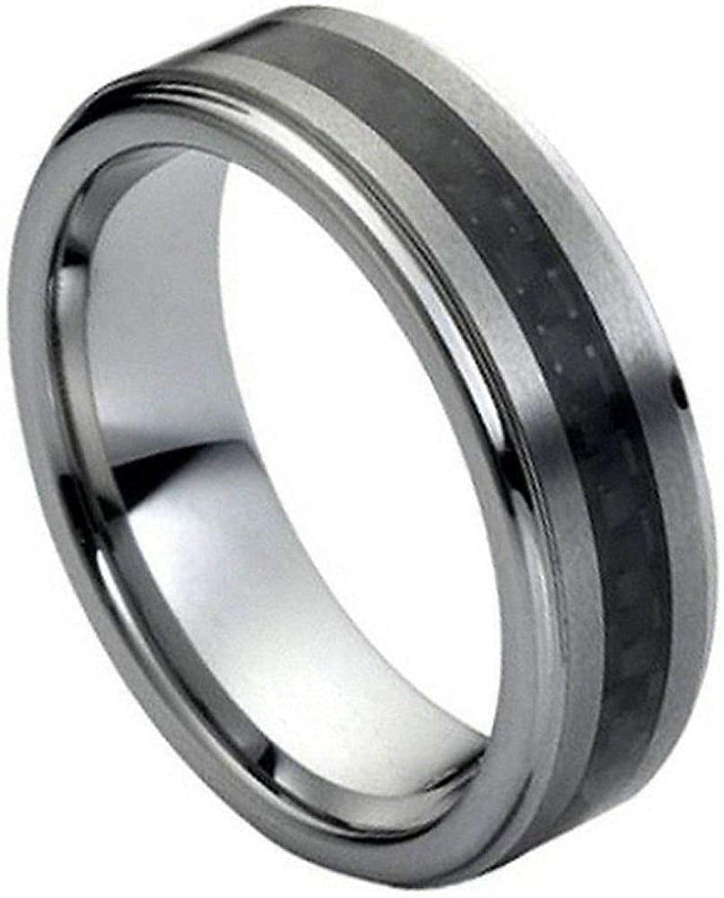 Quality inspection Tungsten Carbide Black Carbon Fiber Inlaid on Center Sale Special Price Brushed 7mm