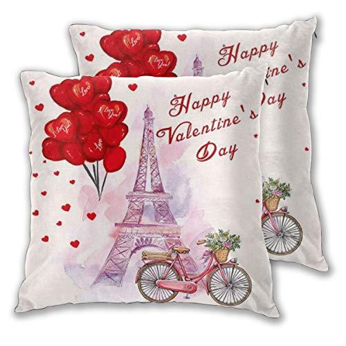 DAOPUDA Funda de Cojín Suave,Día de San Valentín Acuarela En Forma de corazón Amor Globo Aire cayendo y Bicicleta bajo París Torre Eiffel,Funda de Almohada Cuadrado para Sofá Cama 45x45cm,Set de 2