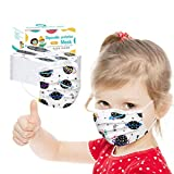 Ecnobia 3 Ply Non-Woven, 50Pcs Disposable Face Bandanas with Cosmic Planet Pattern, Breathable and Anti-Haze Dust, for Kids
