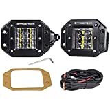 LED Work Light Flush Mount,OFFROADTOWN 2 Pcs 12V 48W Flush Cube LED Work Light Bar for Truck Off-Road SUV Boat 4x4 Grill Mount