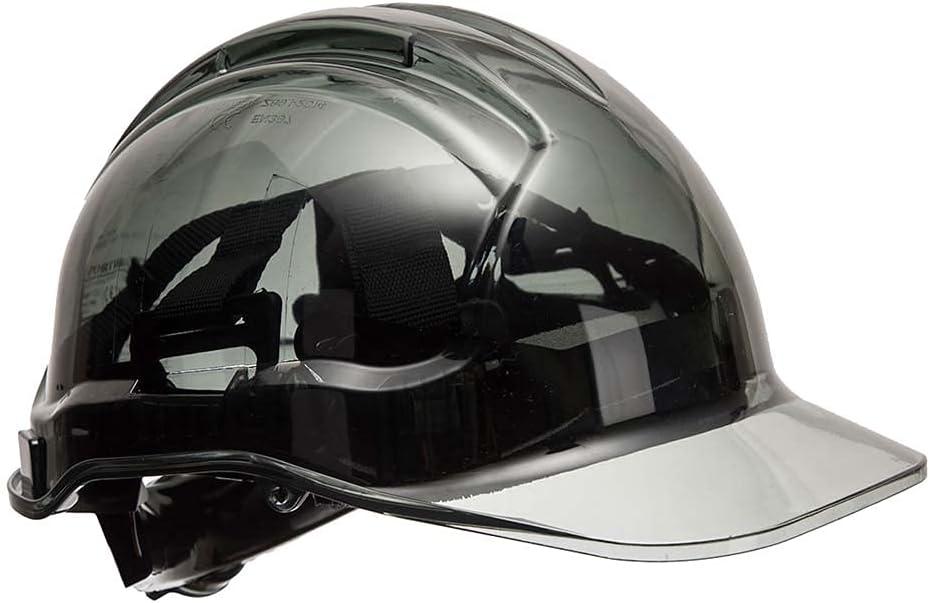 Casco traslúcido de visera con trinquete Portwest PV64SKR, serie PV64, resistente, regular, color gris humo