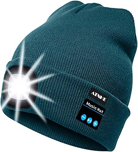 ATNKE LED beleuchtete Bluetooth-Beanie-Kappe, wiederaufladbare USB-Musikalische Laufmütze mit extrem hellem 4-LED-Licht wasserdichte Lampe für das Skifahren Wandern Camping Radfahren (Oliv Grün)