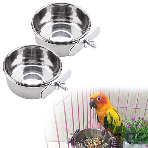 Bird Feeder with Clamp, Stainless Steel Cage Food Water Bowls Parrot Bird Feeder Cup for Cage Small Animal, Parrot, Finches, Chinchilla - 2 Packs