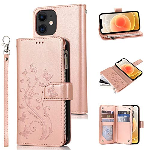 iPhone 11 moda cuero cremallera cartera caso para mujeres niñas con relieve mariposa flor titular de la tarjeta cordón Flip caso oro rosa