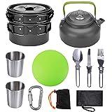 GZDD Kit de Utensilios de Cocina para Acampar Utensilios de Cocina de Aluminio para Exteriores para 2 a 3 Personas Sartén Plegable Antiadherente para Acampar,Black