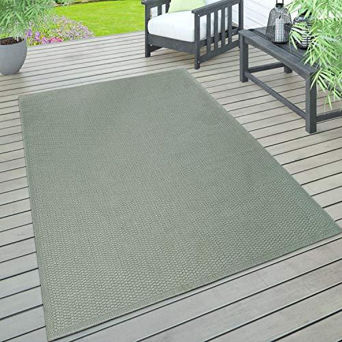 Paco Home In- & Outdoor Teppich, Terrasse u. Balkon, Wetterfest Einfarbig Mit Struktur, Grösse:120x160 cm, Farbe:Grün