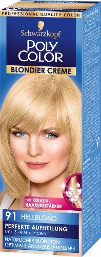 Schwarzkopf Poly Color Blondier Creme Haarfarbe, 91 Hellblond Perfekte Aufhellung, 3er Pack (3 x 104 ml)