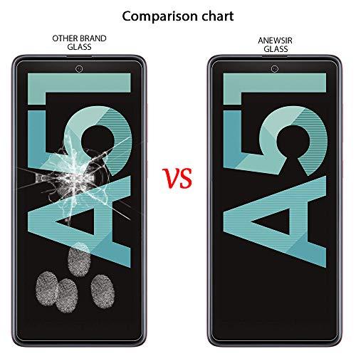 ANEWSIR 3 Stück Schutzfolie Kompatibel mit Samsung Galaxy A51 Panzerglas, 9H-Härte/Keine Blasen/Einfach zu montieren/mit Montagehalterung, Displayschutzfolie Kompatibel mit Samsung A51