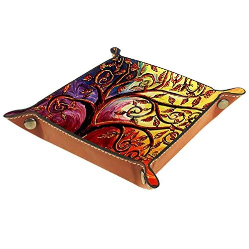 Caja de almacenamiento pequeña, bandeja de valet para hombre,hoja de árbol de vida abstracta,Organizador de cuero para llaves de caja de monedas