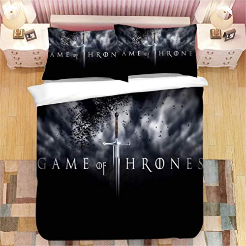 771 Bedding Set - Duvet Cover and Two Pillow Cases Microfibre 3D Digital Print 3 Piece Set Games of Thrones Children and Teenagers, 15, Single(135X200)
