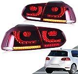 VLAND LED Feux arrière pour Golf 6 Golf mk6 VI GTI GTD TSI TDI R 2008-2013 Feu arrière avec indicateur séquentiel LHD UK inventaire (rouge + clair)