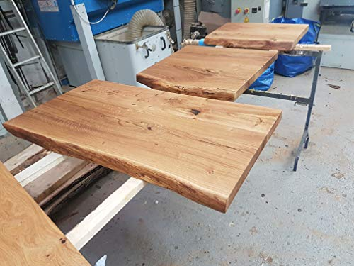 Waschtischplatte Eiche massiv Baumkante geölt Waschtisch Holz (60 x 40 cm) - 3