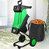 joyvio Trituradora de Cuchillas eléctrica - 2400 W - Incl.Bolsa de Recogida de 50 litros - 12 kg de Peso Ligero - Ruedas con Cubierta de Rueda - Trituradora de jardín para Ramas de 40 mm