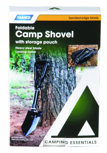 Camco Portable Folding Shovel with Storage Pouch - Excellent for Shoveling Dirt or Snow  Great for Gardening, Camping, Hiking, Outdoor Labor or Maintenance (51075)