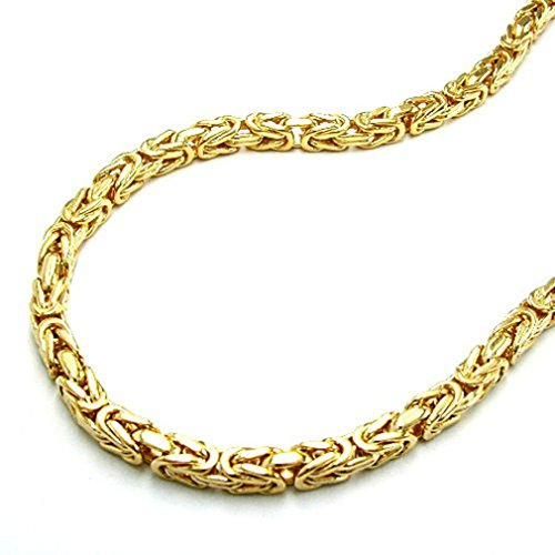 Unbespielt Modeschmuck Halskette Kette Damen Königskette vierkant diamantiert vergoldet doublè Collier Verschiedene Längen Breite 3 mm, Kettenlänge:55 cm
