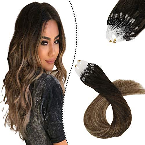 Ugeat Extension Microring Capelli Veri Pre Bonded Remy Hair Extensions 50cm Extension Capelli Veri con Anello 100GR/100Ciocche #2/6/12 Balayage Marrone Scuro a Medio con Dorato