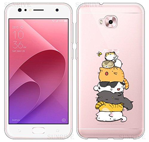 Sunrive Für Asus Zenfone 4 Selfie ZD553KL 5,5 Zoll Hülle Silikon, Transparent Handyhülle Schutzhülle Etui Hülle Backcover(TPU Katze 3)+Gratis Universal Eingabestift
