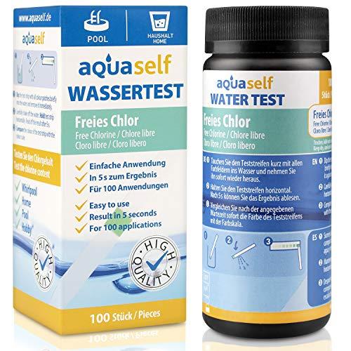 aquaself Wassertest auf Chlor – 100 Stück Wasserteststreifen in Dose zur Bestimmung des Chlorgehalts im Pool oder Haushalt