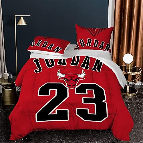 AZJMPKS Jordan NBA - Juego de ropa de cama con impresión 3D, funda nórdica de microfibra supersuave, funda de edredón, funda de almohada, ropa de cama de 135 x 200 cm (A1,220 x 240 cm + 75 x 50 cm x2)