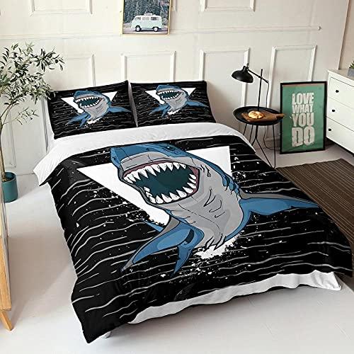 LUOWAN Océano Funda Nordica 3D Impresión Ropa De Cama De - Double 200x200 CM - Animal Tiburón Anime 4 - Funda de Edredón 3 Ropa de Cama Suave Familia Niño Niña Moderno Estilo Colcha Cama