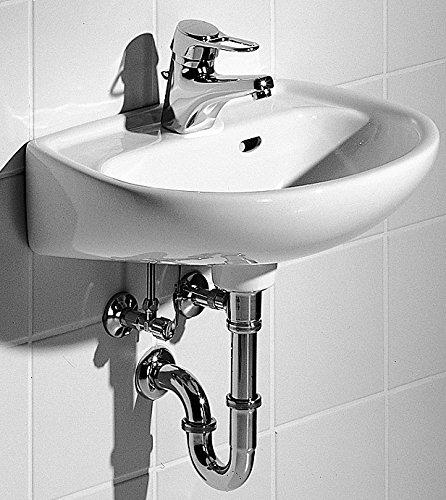 Keramag Handwaschbecken Renova, 271045000, runder Waschtisch, Waschbecken mit Überlauf, für Gäste-Bad, 45 x 34 cm, Weiß, 03826 3