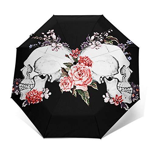 Regenschirm Taschenschirm Kompakter Falt-Regenschirm, Winddichter, Auf-Zu-Automatik, Verstärktes Dach, Ergonomischer Griff, Schirm-Tasche, Tattoo Rosen Schädel Gothic